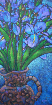 Irises in Clay Pitcher